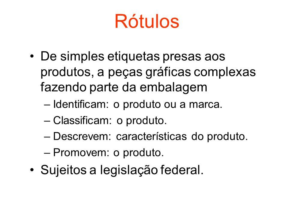 Rótulos De simples etiquetas presas aos produtos, a peças gráficas complexas fazendo parte da embalagem –Identificam: o produto ou a marca. –Classific