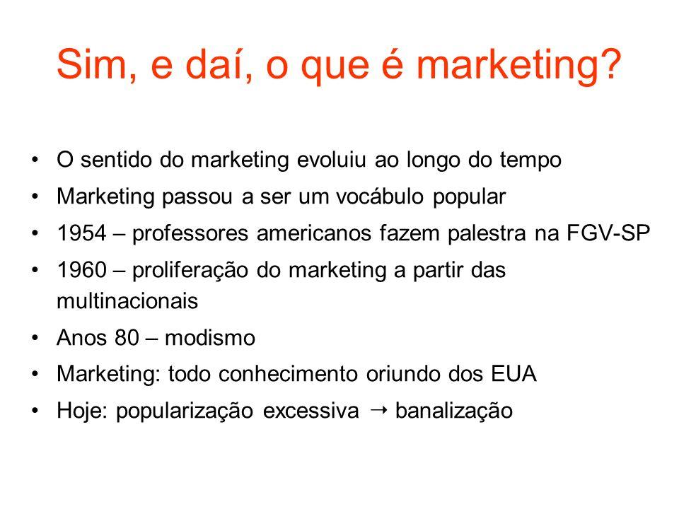 Sim, e daí, o que é marketing? O sentido do marketing evoluiu ao longo do tempo Marketing passou a ser um vocábulo popular 1954 – professores american