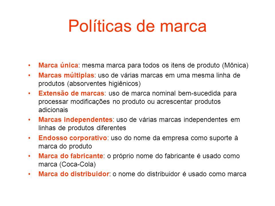 Políticas de marca Marca única: mesma marca para todos os itens de produto (Mônica) Marcas múltiplas: uso de várias marcas em uma mesma linha de produ