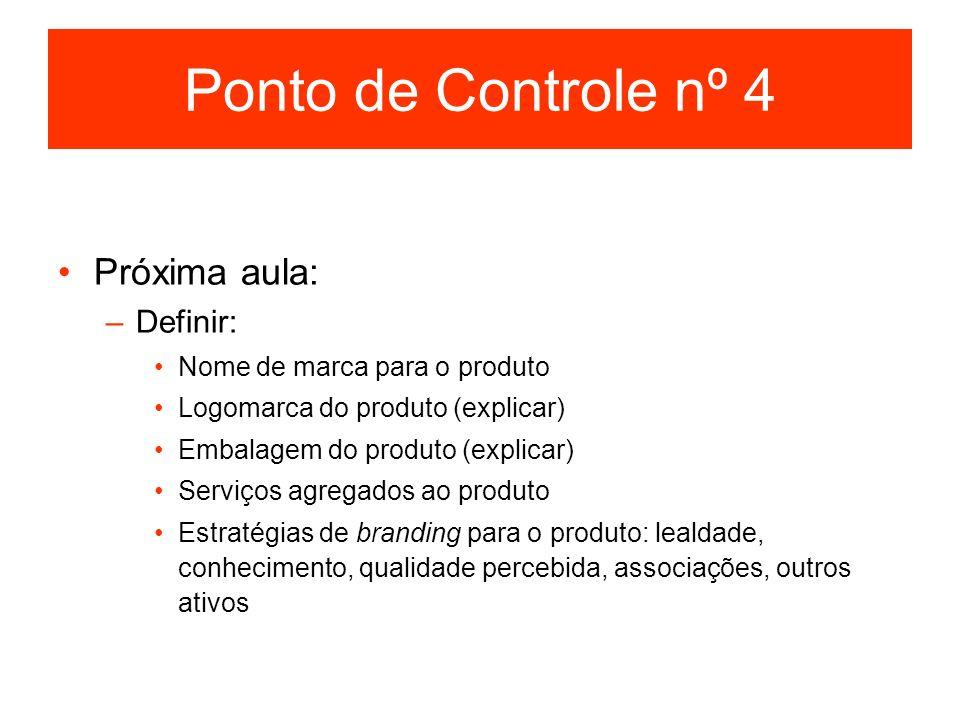 Ponto de Controle nº 4 Próxima aula: –Definir: Nome de marca para o produto Logomarca do produto (explicar) Embalagem do produto (explicar) Serviços a