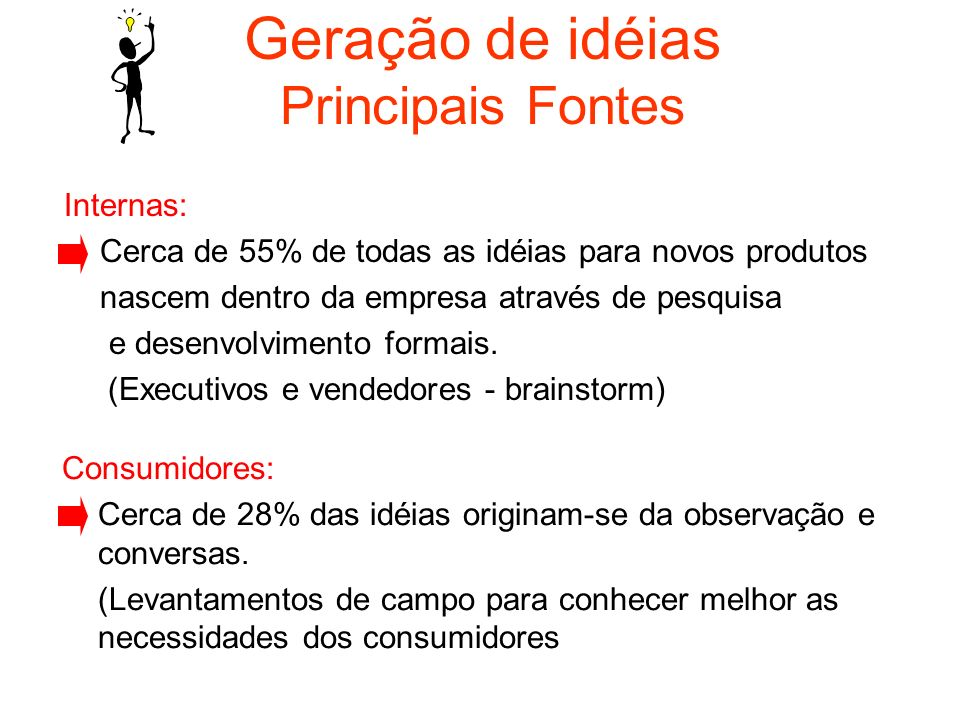Geração de idéias Principais Fontes Internas: Cerca de 55% de todas as idéias para novos produtos nascem dentro da empresa através de pesquisa e desen