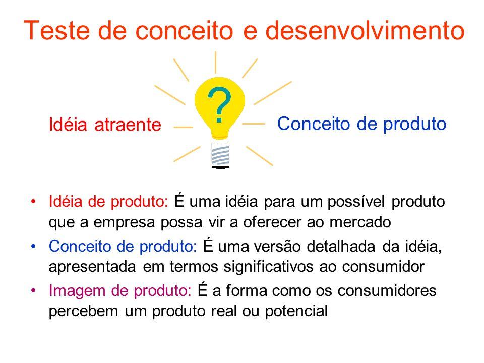Idéia de produto: É uma idéia para um possível produto que a empresa possa vir a oferecer ao mercado Conceito de produto: É uma versão detalhada da id