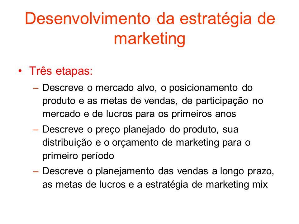 Desenvolvimento da estratégia de marketing Três etapas: –Descreve o mercado alvo, o posicionamento do produto e as metas de vendas, de participação no