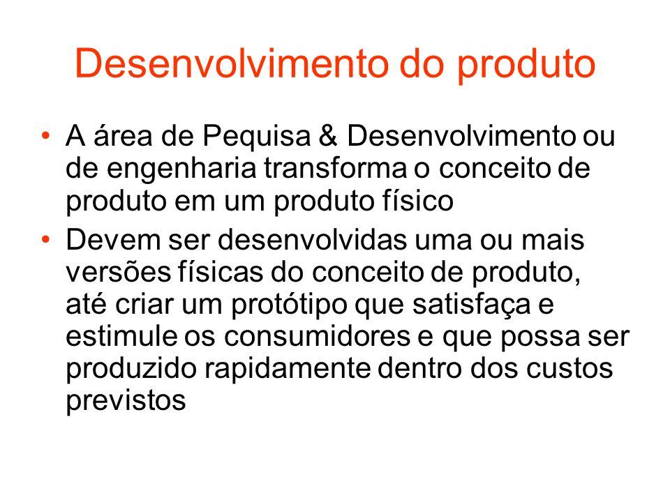 Desenvolvimento do produto A área de Pequisa & Desenvolvimento ou de engenharia transforma o conceito de produto em um produto físico Devem ser desenv