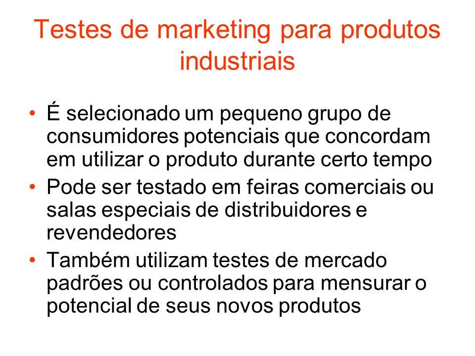 Testes de marketing para produtos industriais É selecionado um pequeno grupo de consumidores potenciais que concordam em utilizar o produto durante ce