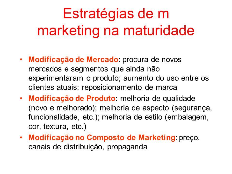 Estratégias de m marketing na maturidade Modificação de Mercado: procura de novos mercados e segmentos que ainda não experimentaram o produto; aumento