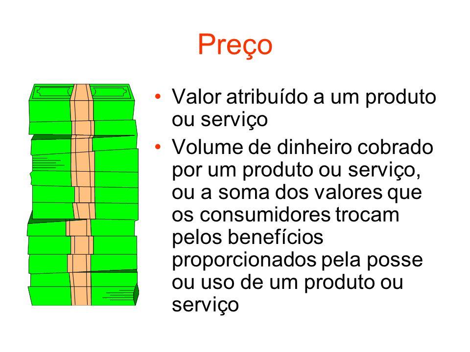 Preço Valor atribuído a um produto ou serviço Volume de dinheiro cobrado por um produto ou serviço, ou a soma dos valores que os consumidores trocam p