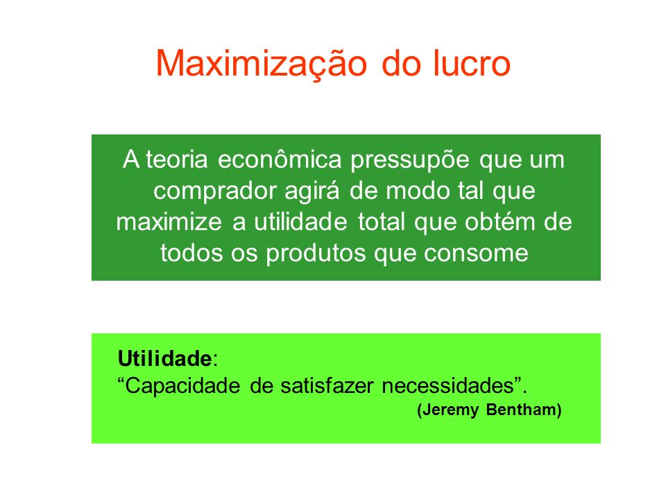 Maximização do lucro A teoria econômica pressupõe que um comprador agirá de modo tal que maximize a utilidade total que obtém de todos os produtos que