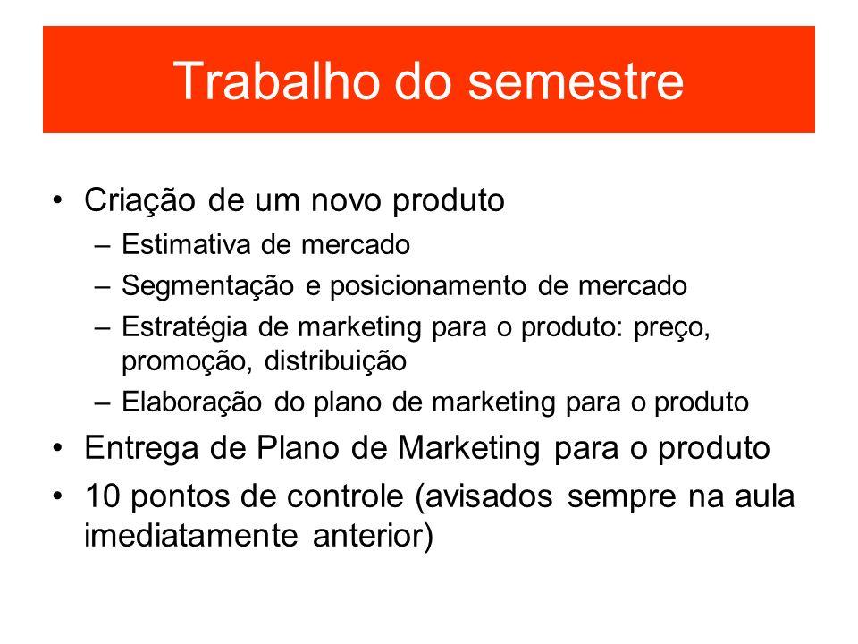 Trabalho do semestre Criação de um novo produto –Estimativa de mercado –Segmentação e posicionamento de mercado –Estratégia de marketing para o produt