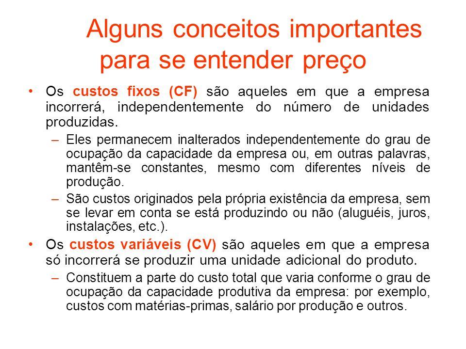 Alguns conceitos importantes para se entender preço Os custos fixos (CF) são aqueles em que a empresa incorrerá, independentemente do número de unidad