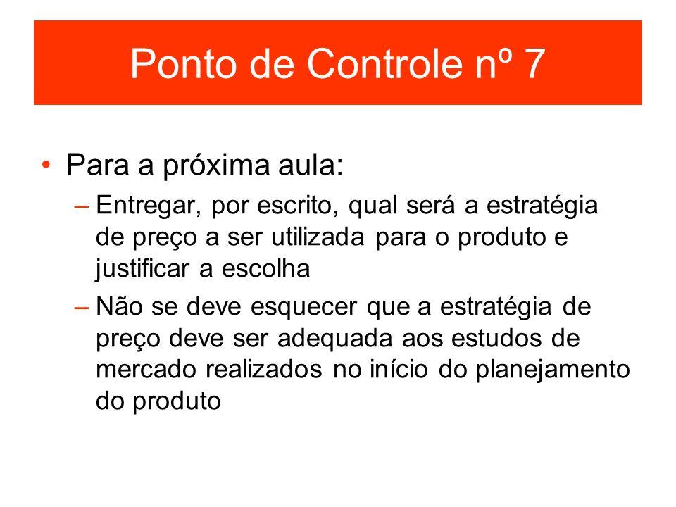 Ponto de Controle nº 7 Para a próxima aula: –Entregar, por escrito, qual será a estratégia de preço a ser utilizada para o produto e justificar a esco