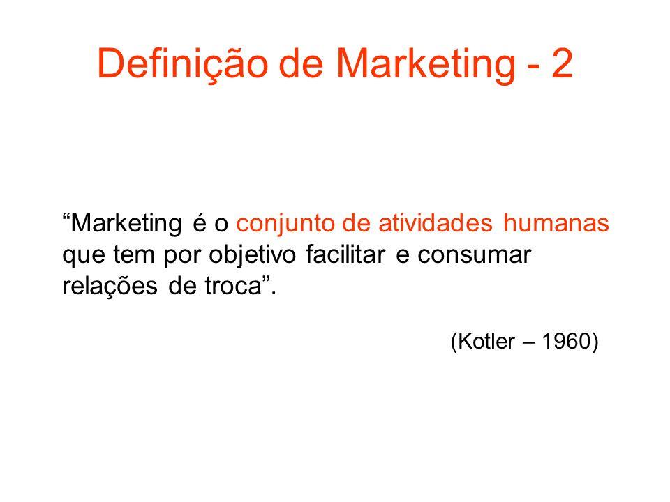 Definição de Marketing - 2 Marketing é o conjunto de atividades humanas que tem por objetivo facilitar e consumar relações de troca. (Kotler – 1960)
