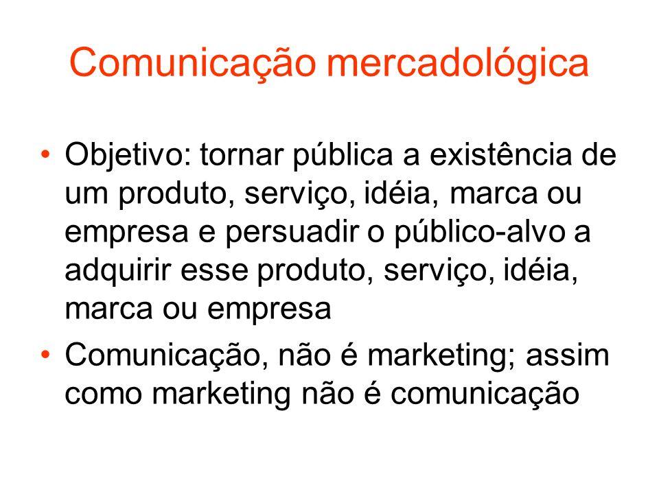 Comunicação mercadológica Objetivo: tornar pública a existência de um produto, serviço, idéia, marca ou empresa e persuadir o público-alvo a adquirir