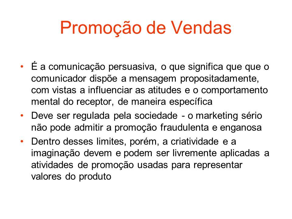 Promoção de Vendas É a comunicação persuasiva, o que significa que que o comunicador dispõe a mensagem propositadamente, com vistas a influenciar as a