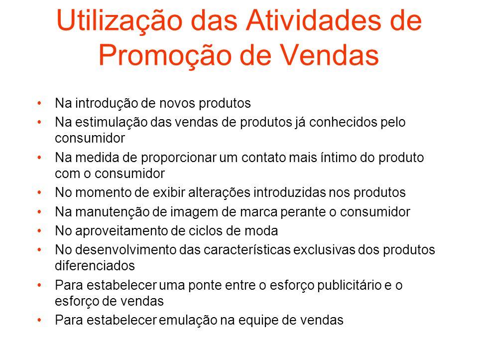Utilização das Atividades de Promoção de Vendas Na introdução de novos produtos Na estimulação das vendas de produtos já conhecidos pelo consumidor Na