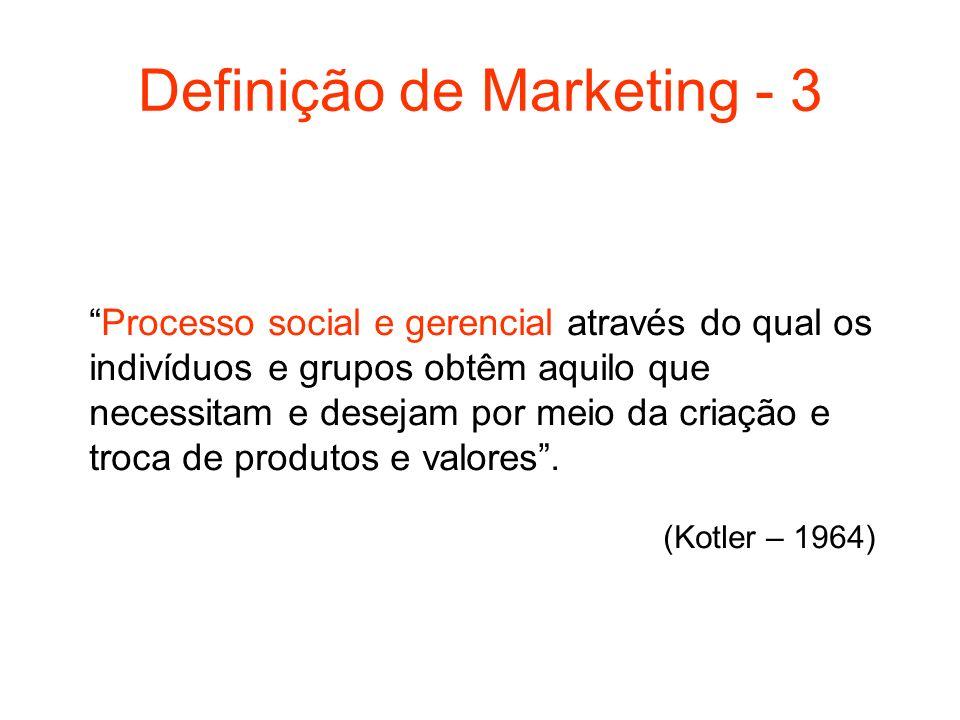 Definição de Marketing - 3 Processo social e gerencial através do qual os indivíduos e grupos obtêm aquilo que necessitam e desejam por meio da criaçã
