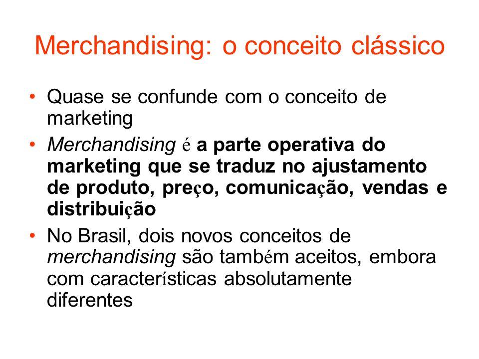 Merchandising: o conceito clássico Quase se confunde com o conceito de marketing Merchandising é a parte operativa do marketing que se traduz no ajust
