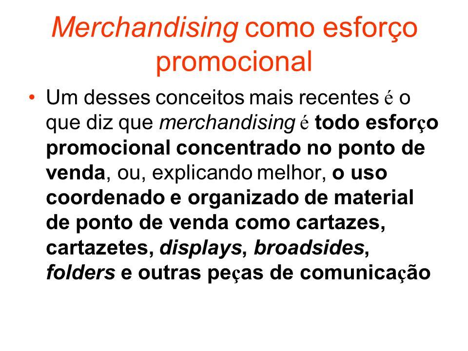 Merchandising como esforço promocional Um desses conceitos mais recentes é o que diz que merchandising é todo esfor ç o promocional concentrado no pon