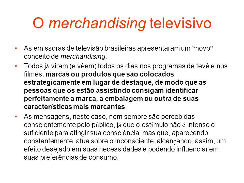 O merchandising televisivo As emissoras de televisão brasileiras apresentaram um novo conceito de merchandising. Todos j á viram (e vêem) todos os dia