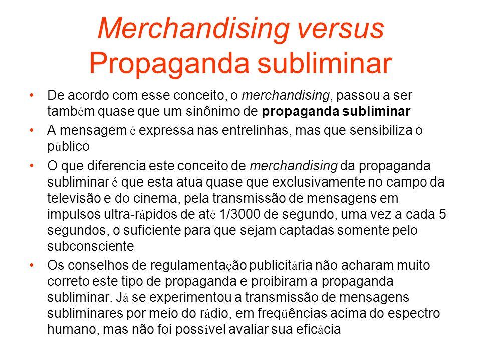 Merchandising versus Propaganda subliminar De acordo com esse conceito, o merchandising, passou a ser tamb é m quase que um sinônimo de propaganda sub