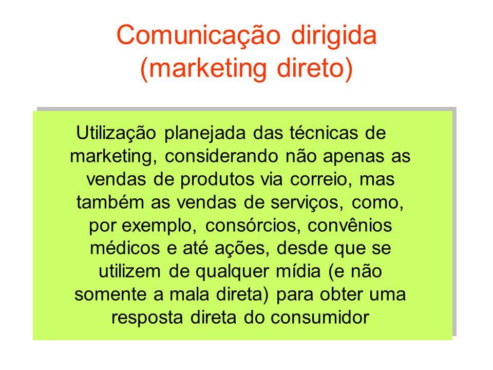 Comunicação dirigida (marketing direto) Utilização planejada das técnicas de marketing, considerando não apenas as vendas de produtos via correio, mas