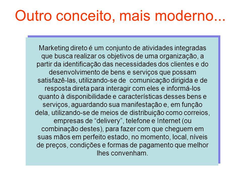 Outro conceito, mais moderno... Marketing direto é um conjunto de atividades integradas que busca realizar os objetivos de uma organização, a partir d
