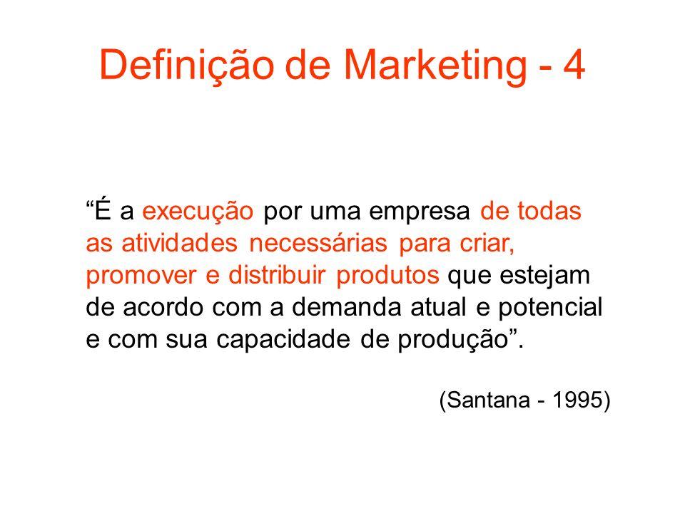Definição de Marketing - 4 É a execução por uma empresa de todas as atividades necessárias para criar, promover e distribuir produtos que estejam de a