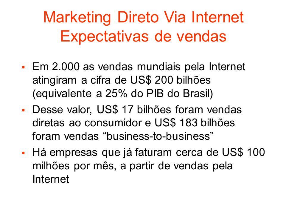 Marketing Direto Via Internet Expectativas de vendas Em 2.000 as vendas mundiais pela Internet atingiram a cifra de US$ 200 bilhões (equivalente a 25%