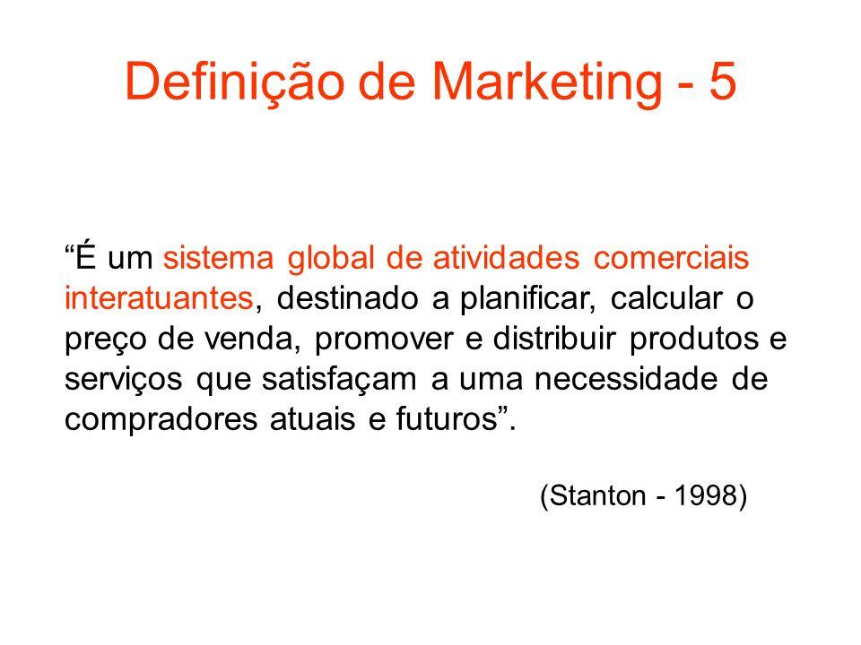 Definição de Marketing - 5 É um sistema global de atividades comerciais interatuantes, destinado a planificar, calcular o preço de venda, promover e d