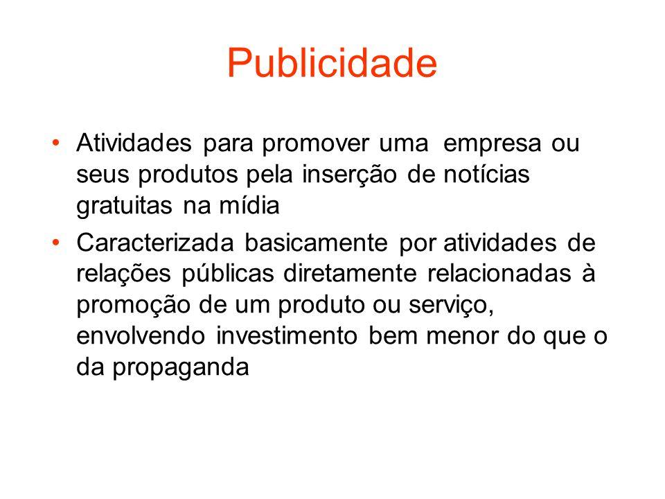 Publicidade Atividades para promover uma empresa ou seus produtos pela inserção de notícias gratuitas na mídia Caracterizada basicamente por atividade