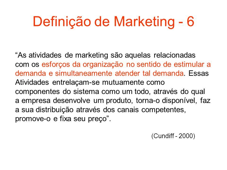 Definição de Marketing - 6 As atividades de marketing são aquelas relacionadas com os esforços da organização no sentido de estimular a demanda e simu