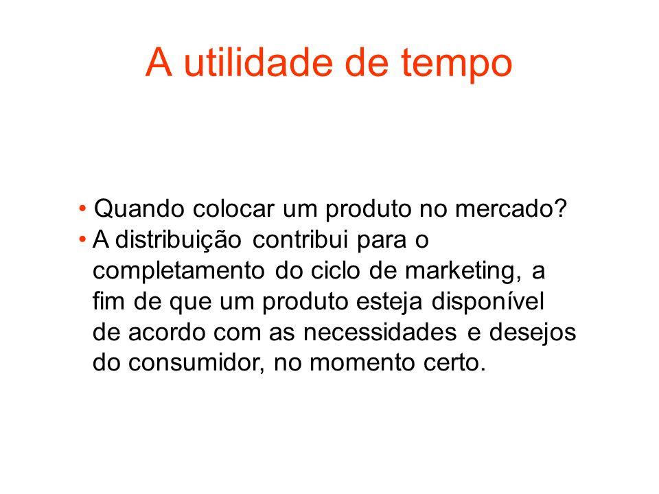 A utilidade de tempo Quando colocar um produto no mercado? A distribuição contribui para o completamento do ciclo de marketing, a fim de que um produt