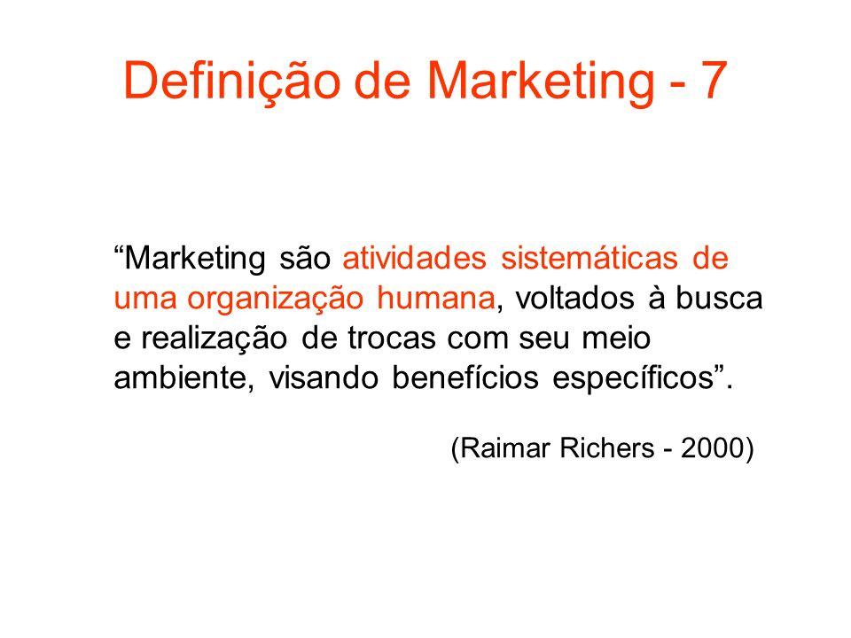 Definição de Marketing - 7 Marketing são atividades sistemáticas de uma organização humana, voltados à busca e realização de trocas com seu meio ambie