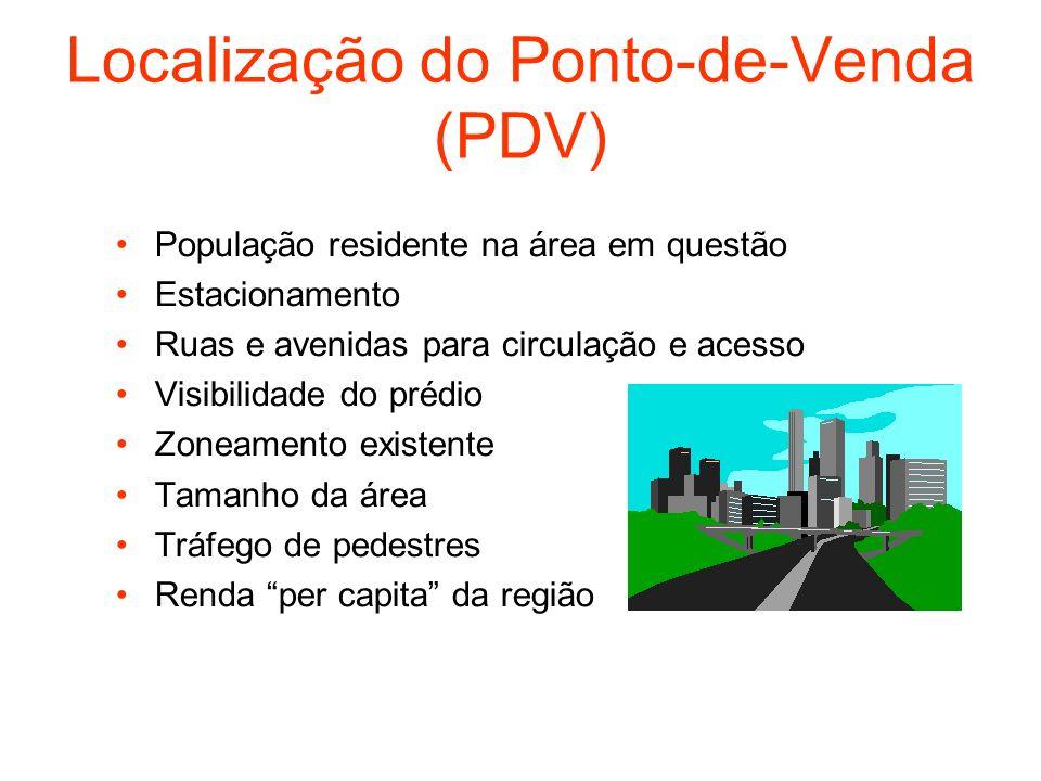 Localização do Ponto-de-Venda (PDV) População residente na área em questão Estacionamento Ruas e avenidas para circulação e acesso Visibilidade do pré