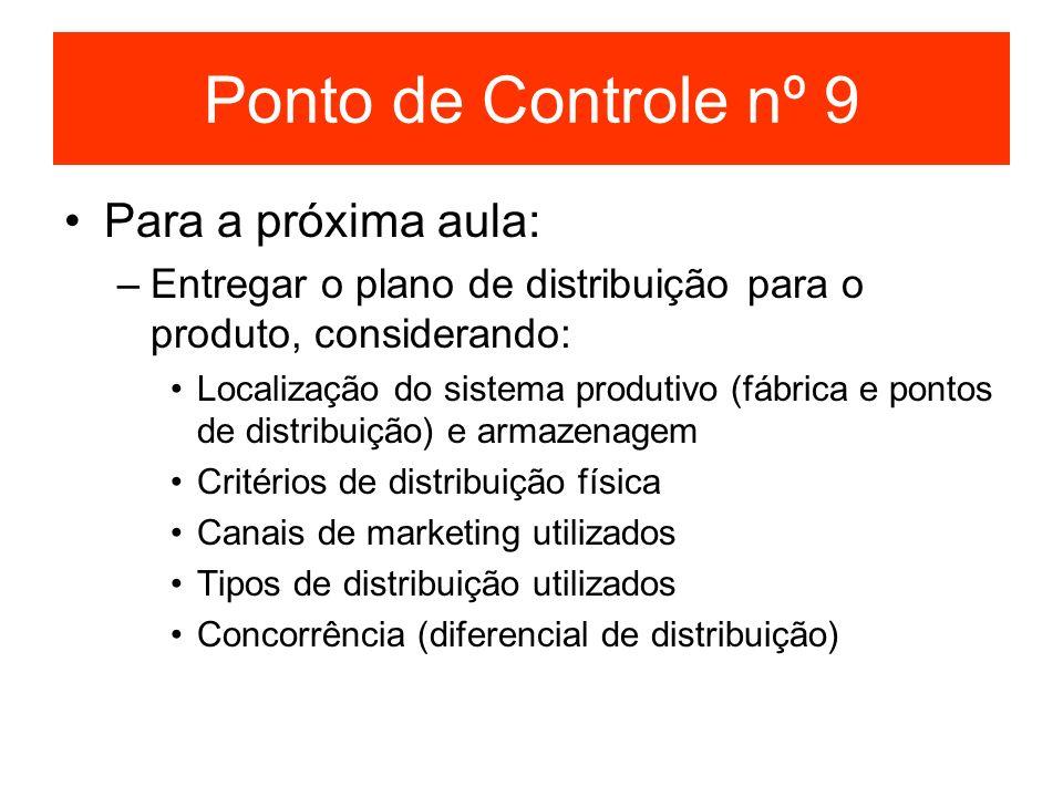 Ponto de Controle nº 9 Para a próxima aula: –Entregar o plano de distribuição para o produto, considerando: Localização do sistema produtivo (fábrica