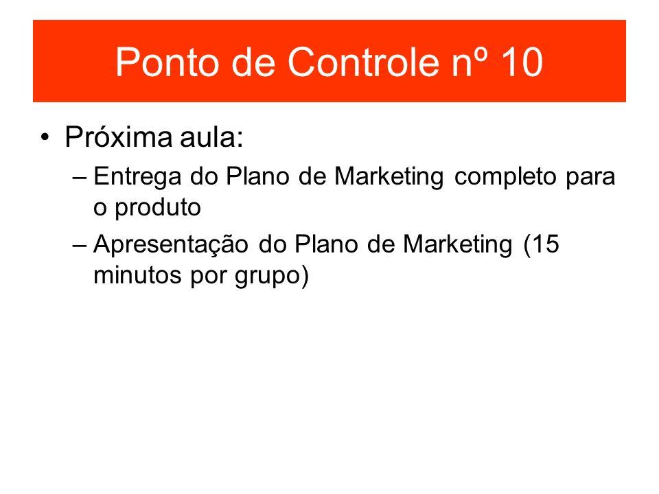 Ponto de Controle nº 10 Próxima aula: –Entrega do Plano de Marketing completo para o produto –Apresentação do Plano de Marketing (15 minutos por grupo