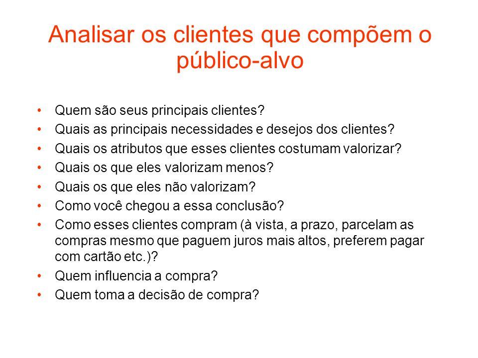 Analisar os clientes que compõem o público-alvo Quem são seus principais clientes? Quais as principais necessidades e desejos dos clientes? Quais os a