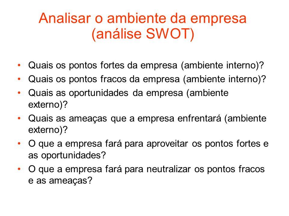 Analisar o ambiente da empresa (análise SWOT) Quais os pontos fortes da empresa (ambiente interno)? Quais os pontos fracos da empresa (ambiente intern