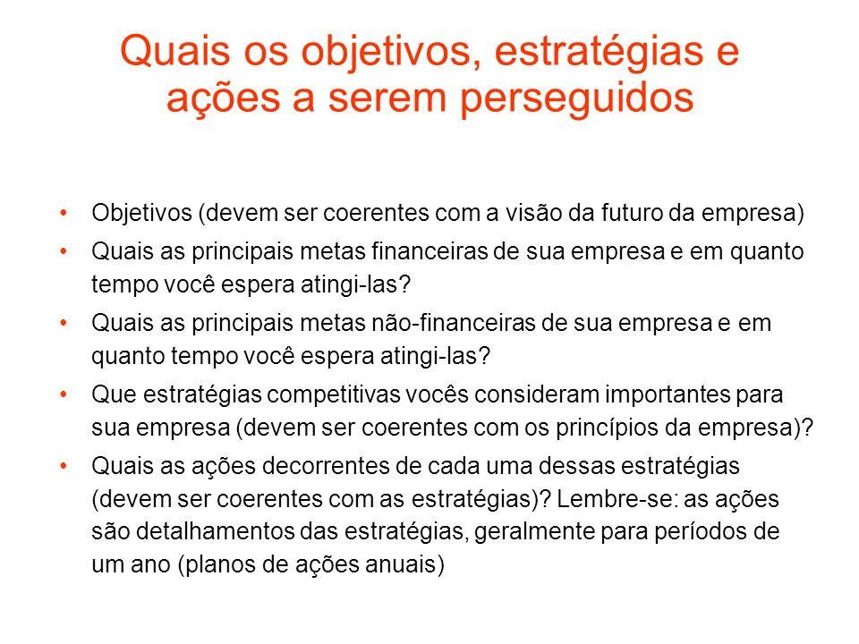 Quais os objetivos, estratégias e ações a serem perseguidos Objetivos (devem ser coerentes com a visão da futuro da empresa) Quais as principais metas