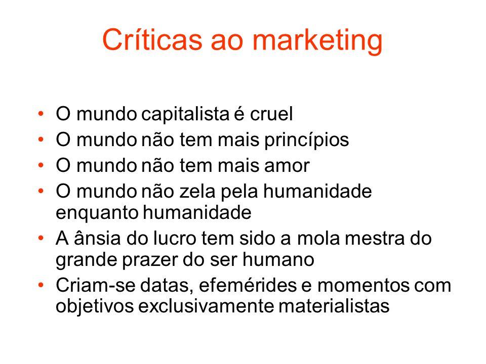 Críticas ao marketing O mundo capitalista é cruel O mundo não tem mais princípios O mundo não tem mais amor O mundo não zela pela humanidade enquanto