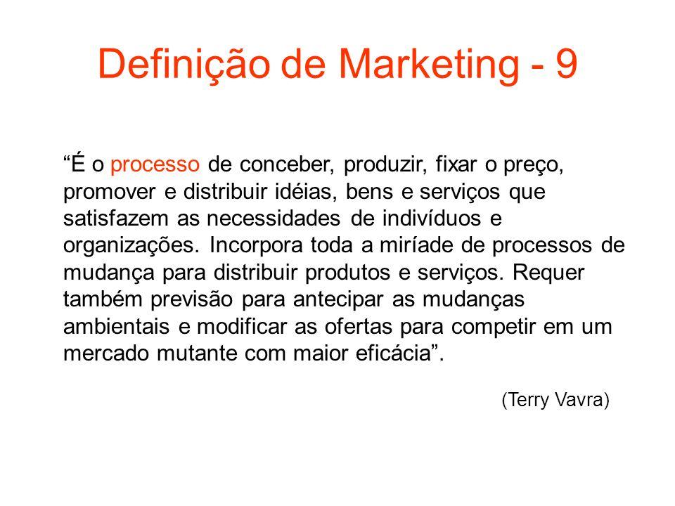 Definição de Marketing - 9 É o processo de conceber, produzir, fixar o preço, promover e distribuir idéias, bens e serviços que satisfazem as necessid