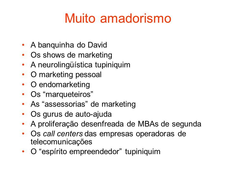 Muito amadorismo A banquinha do David Os shows de marketing A neurolingüística tupiniquim O marketing pessoal O endomarketing Os marqueteiros As asses