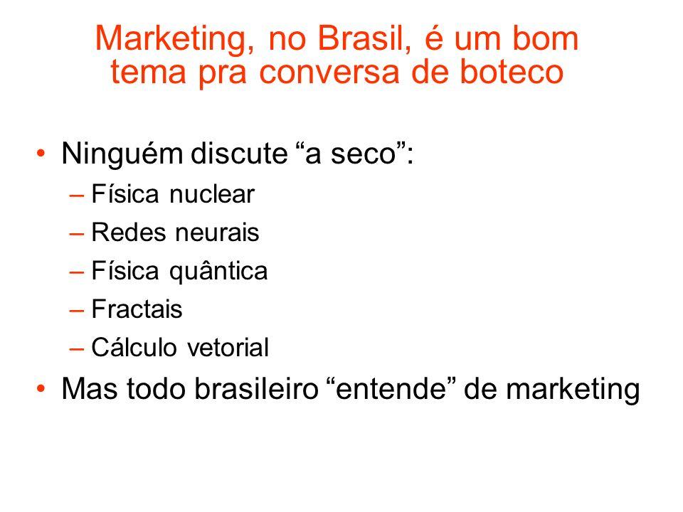 Marketing, no Brasil, é um bom tema pra conversa de boteco Ninguém discute a seco: –Física nuclear –Redes neurais –Física quântica –Fractais –Cálculo