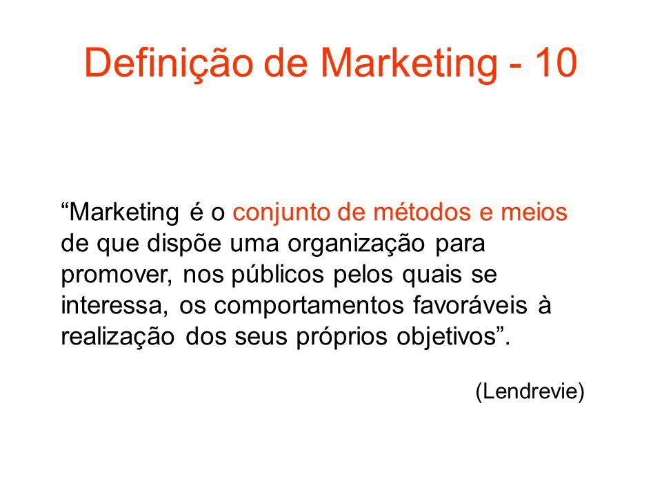 Definição de Marketing - 10 Marketing é o conjunto de métodos e meios de que dispõe uma organização para promover, nos públicos pelos quais se interes