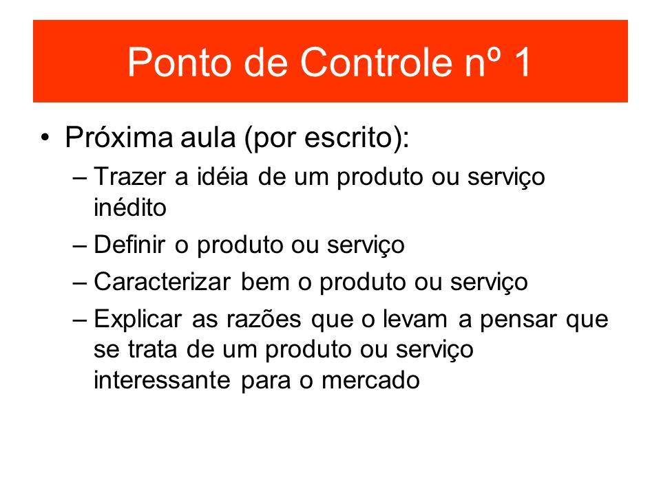 Ponto de Controle nº 1 Próxima aula (por escrito): –Trazer a idéia de um produto ou serviço inédito –Definir o produto ou serviço –Caracterizar bem o