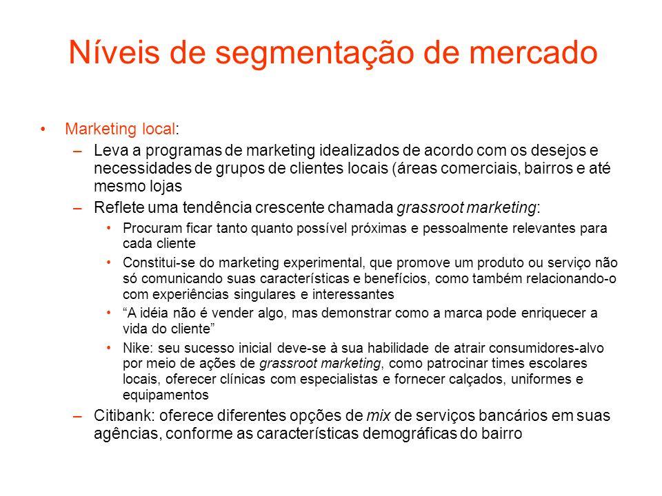 Níveis de segmentação de mercado Marketing local: –Leva a programas de marketing idealizados de acordo com os desejos e necessidades de grupos de clie