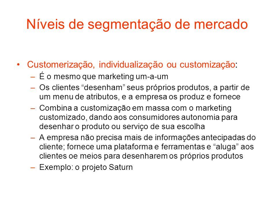 Níveis de segmentação de mercado Customerização, individualização ou customização: –É o mesmo que marketing um-a-um –Os clientes desenham seus próprio