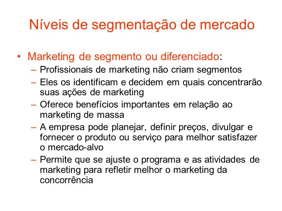 Níveis de segmentação de mercado Marketing de segmento ou diferenciado: –Profissionais de marketing não criam segmentos –Eles os identificam e decidem