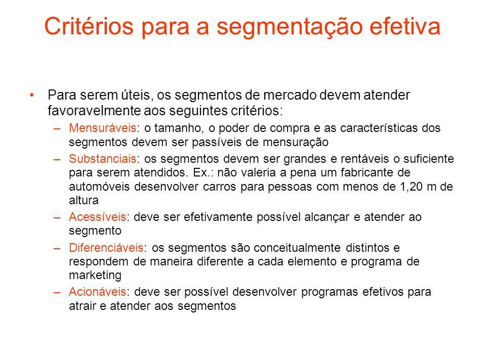 Critérios para a segmentação efetiva Para serem úteis, os segmentos de mercado devem atender favoravelmente aos seguintes critérios: –Mensuráveis: o t