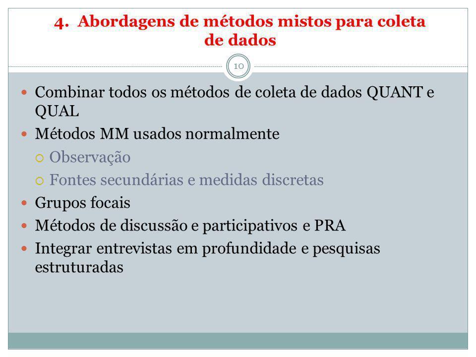 4. Abordagens de métodos mistos para coleta de dados 10 Combinar todos os métodos de coleta de dados QUANT e QUAL Métodos MM usados normalmente Observ